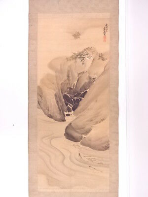 82102# Japanese Wall Hanging Scroll / Hand Painted / Gorge
