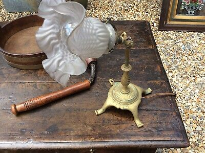 Antique C1910 Edwardian Cast Brass Pullman Table Lamp.railway Carriage Lamp