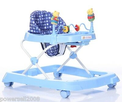 New 1 Baby Blue Plastic Collapsible Comfortable 4 Wheels Baby Walker