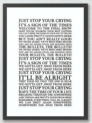 Sign of the Times - Harry Styles Song Lyrics Typography A4 Print Poster Artwork