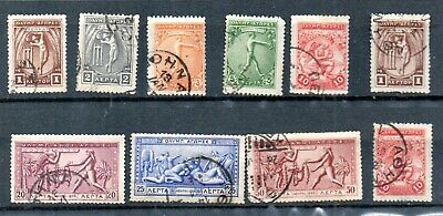 OLYMPIC GAMES 1906 ATHENS APOLLO ATLAS HERCULES 10 Greek stamps (1c to 50c) No:3