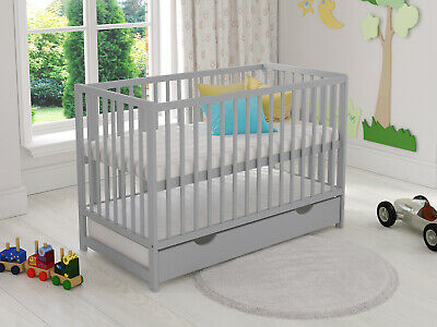 Classic Baby Cot Bed with Drawer White Toddler Bed & Deluxe Aloe Vera Mattress