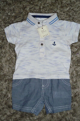 NEXT - Lovely Baby Boys Cotton Blue RomperAll In One 3-6 Months Outfit NEW TAG