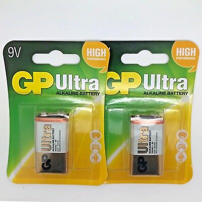 2 x GP ULTRA ALKALINE 9V PP3 BATTERY PP3 MN1604 6LR61 BLOCK 6LF22