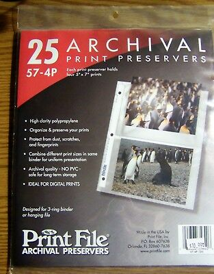Print File 57-4P Archival Preservers Holds Four 5 x 7 Prints Each *Pack of 25
