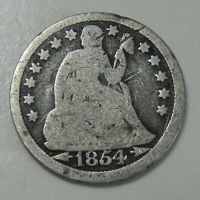1854 Seated Liberty Dime ~  Silver Coin  ~ Arrows