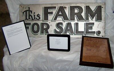 """Antique """"This Farm For Sale"""" Sign. 1911. Hand Painted By Sign Painter Nels Bradt"""