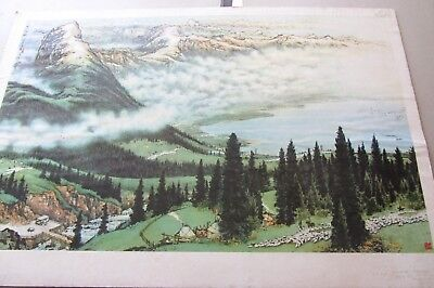 Rare Chinese Cultural Revolution Poster Mountains/forests-tranquility