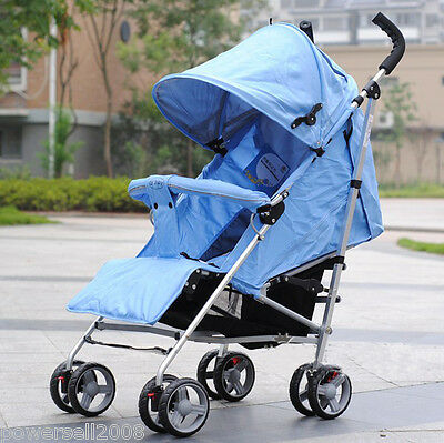 C02 Single Baby Blue Fabric + Aluminum Alloy Collapsible 8 Wheels Strollers