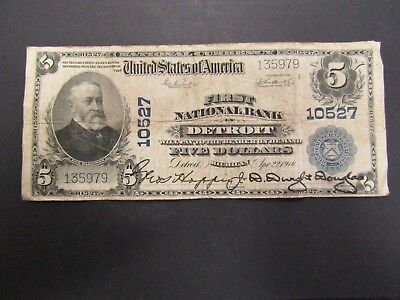 1902 $5 First Nation Bank Detroit U.S. Banknote