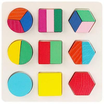 Kids Baby Wooden Learning Geometry Educational Toys Puzzle Montessori Early