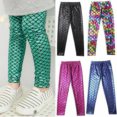 NEW Kids Girls Fish Scale Mermaid Skinny Leggings Elastic Long Pants Trousers