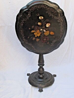 Antique  Paper Mache Tilt Top  Table Hand Painted Flowers and Mother of Pearl