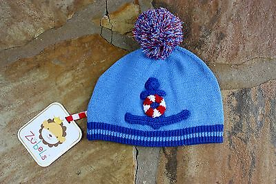 NEW Zubels Hand Knit Anchor Hat Boys 0-6 mths Blue RV$18