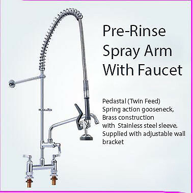 """Pre-Rinse spray arm with faucet 12"""" swing nozzle tap, twin pedestal faucet 48"""""""