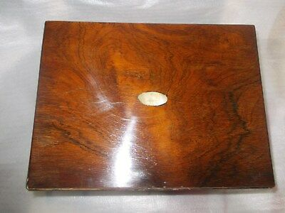 A 19th CENTURY ROSEWOOD JEWELLERY BOX WITH MOTHER OF PEARL INLAY