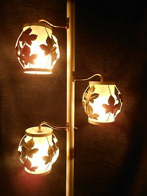 Vintage Tension Pole Lamp Floor To Ceiling 3 Lights With Leaves WORKS GREAT  !