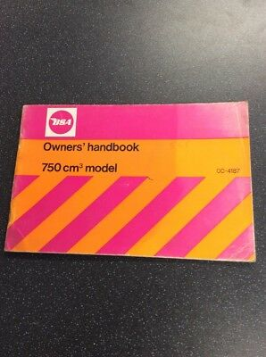 Genuine Nos Bsa 750 Cm Model 00-4187 Owners Handbook