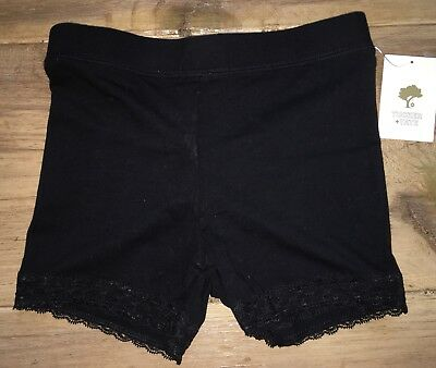Tucker + Tate Nordstrom's Black Lace Trimmed Cotton Shorts Girls' Size S 7/8 NWT