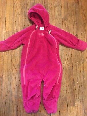 The North Face Infant Girls Pink Fleece Snow Suit One Piece 12 Months Hooded