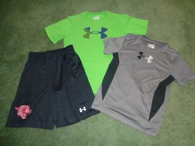Under Armour Boys Lot Clothes Ylg 14/16 T-Shirt, Shorts Heatgear Loose Fit