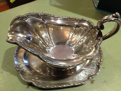 Sterling Silver Gravy Boat With Sterling Under Plate
