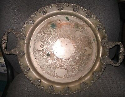 "Federal Silver Co 14 1/2"" Dia. Silver Plate on Copper Dual Handle Tray Grapes"