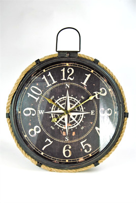 Wall Clock Extra Large Nautical style Brown metal Compass design