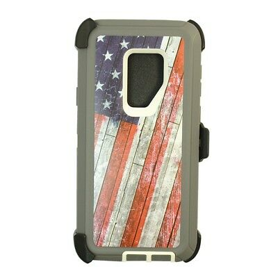 For Samsung Galaxy S9 Plus w/(Clip fits Otterbox Defender Case) USA Flag