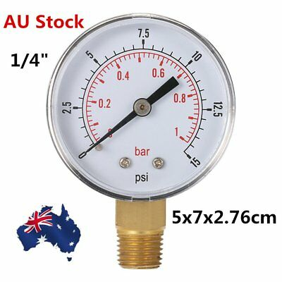 """Water and Air Pressure Gauge New 1/4"""" Brass Thread 0-15 PSI 0-1 Bar CO"""