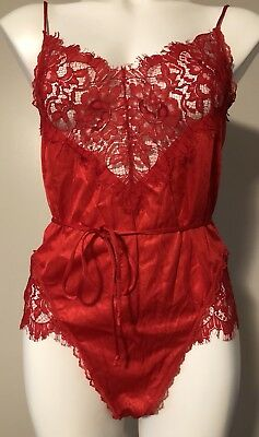 Vintage Red Lace Satin Nylon Teddy Lingerie Size Medium Lady Cameo Dallas USA