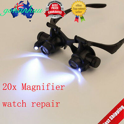 Eye Jeweler Watch Repair 20X Magnifier Magnifying LED Light Glass Loupe Lens CO