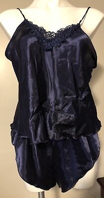 Vtg Midnight Blue Satin Nylon Teddy Lingerie Large Lady Cameo Dallas USA 2 piece