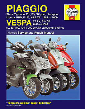 NEW Haynes Workshop Service Repair Manual for Piaggio Typhoon Zip Fly NRG X8 X9