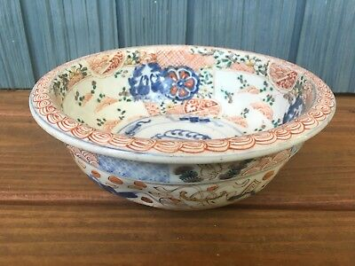 """Mid 19th C. Hand Painted Meiji Porcelain Pottery Bowl 8.5"""""""