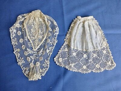 2 x antique lace Jabot dress fronts trims Honiton lace Irish crochet