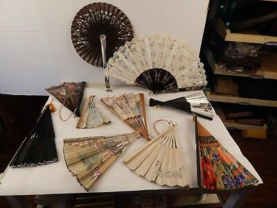 lot of 10 antique CHINESE FANS all different and in good condition