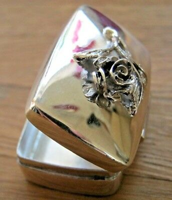 Sweet Birmingham Hallmarked Solid Sterling Silver Rose Box / Snuff Pill Keepsake