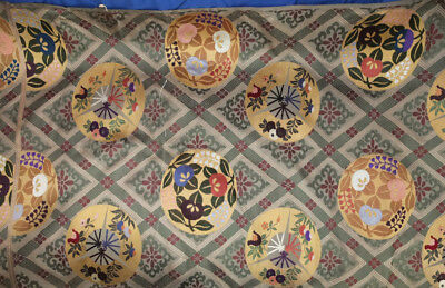 Antique/Vintage Japanese Silk Embroidered Repeating Mon/Kamon Style Panel 14ft!