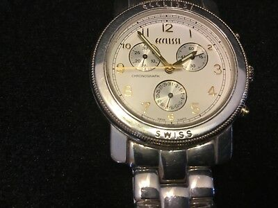 Vintage Ecclissi Chronograph Swiss Made Watch Sterling Silver Band, Day, Mens
