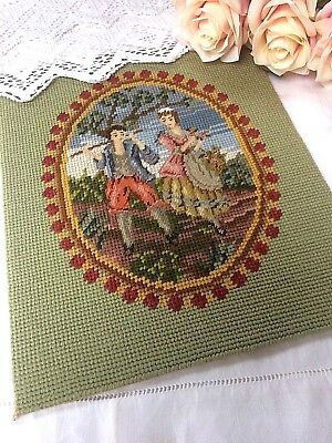 Vintage Victorian Style Lady & Gent BERLIN WOOLWORK Tapestry Picture Panel