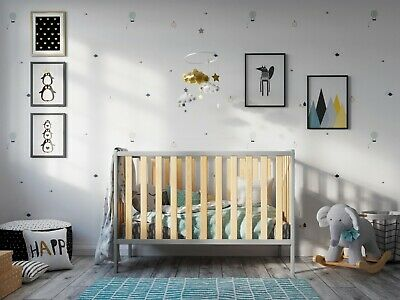 Convertible Baby Cot Bed White Grey Toddler Bed + FREE Deluxe Aloe Vera Mattress