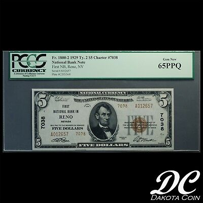 1929 $5 National Currency Reno, NV FR 1800-2 Ty. 2 Ch#7038 ~ PCGS 65 PPQ Gem New