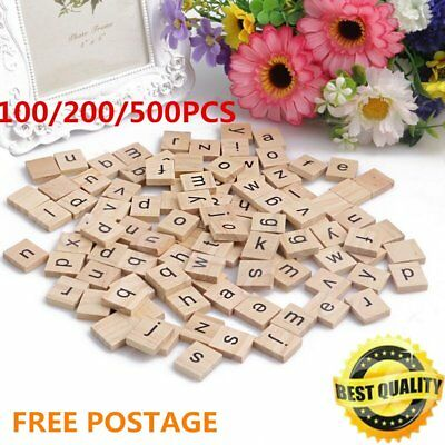 100-500Pcs Wooden Alphabet Scrabble Tiles Black Letters Numbers For Crafts Woo C