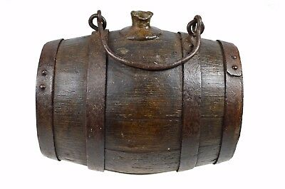 Antique Iron Bound Staved / Coopered Oak Black Gun Powder Keg, French.