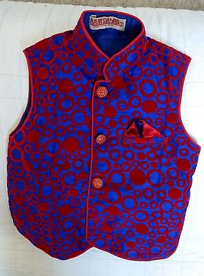 Raja Sahab Traditional Clothing Nehru Jacket for boy, size 3, Red and blue