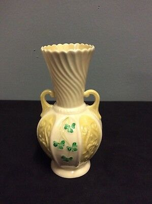 "Belleek Porcelain Vase With Shamrock Design 6"" Green Mark"
