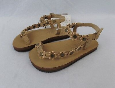 9487fbdc7 RAINBOW SANDALS Kids Delilah Leather Sandals w  Flowers Sierra Brown Sz 5 6  NWT