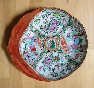 """Rare Antique Chinese Canton Famille Rose Enamel Porcelain Scallop Plate 10"""""""