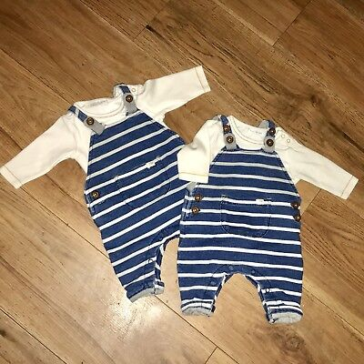 Twin Boy Next Clothes Newborn Matching Navy Striped Dungarees Set Pre-loved